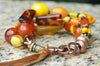 Gorgeous Mixed Ambers, Orange, Yellow and Brass Heart Charm Bracelet