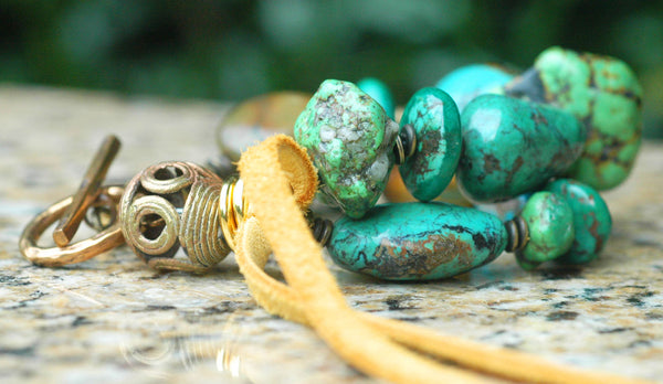 Gorgeous Mixed Turquoise, African Brass and Leather Statement Bracelet