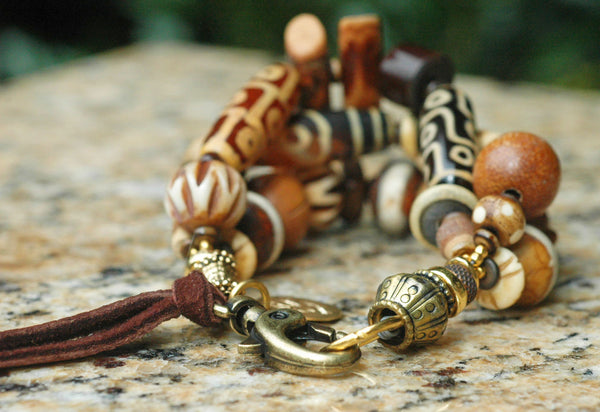 Gorgeous Mixed Browns, Tibetan Brass, Leather and Bone Heart Charm Bracelet