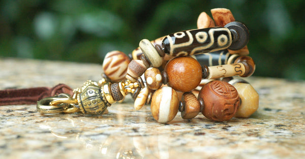 Gorgeous Browns, Tibetan Brass, Leather and Bone Heart Charm Bracelet