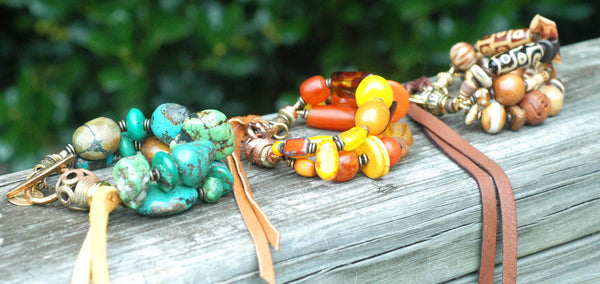 Beautiful Mixed Media Bohemian Artisan Statement Jewelry