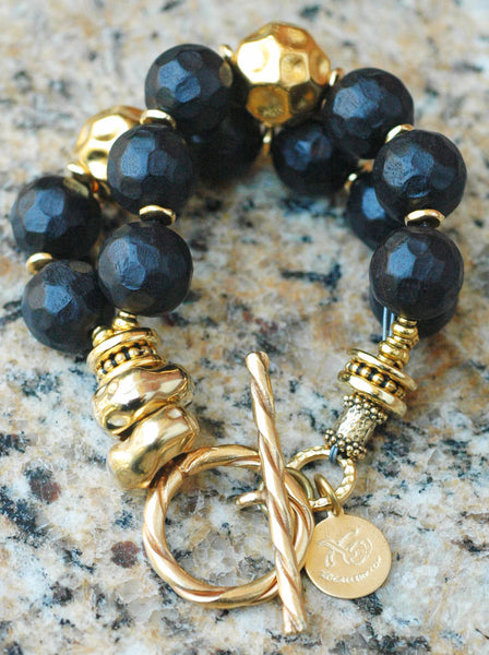 Chunky Carved Black Wood and Exotic Statement Gold Bracelet