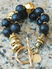 Chunky Carved Black Wood and Exotic Gold Statement Bracelet