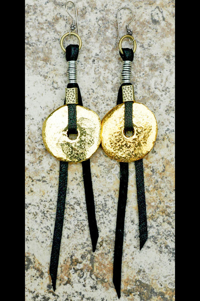 Gold Disc and Black Leather Bohemian Statement Fringe Earrings