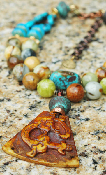 Exotic Serpentine, Turquoise Aqua Glass & Vintage Jade Dragon Necklace