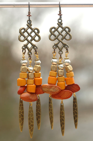 Orange & Brass Gypsy Bohemian Tribal Chandelier Earrings