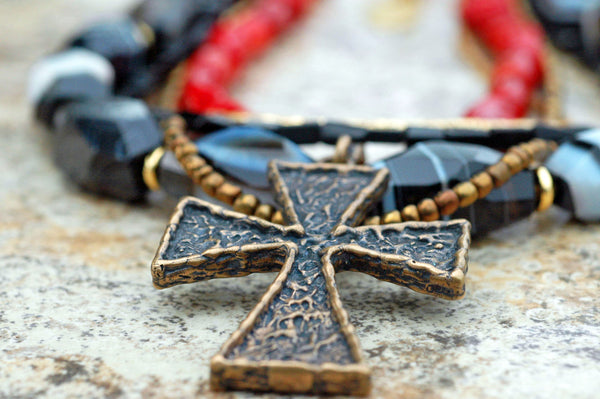 Black Agate, Red Coral & Gold Biker Chick Cross Rock N Roll Necklace