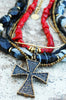Black Agate, Red Coral, Gold and Bronze Cross Rock N Roll Necklace