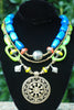 Unique Blue, Green and Orange Modern Tribal Warrior Pendant Necklace