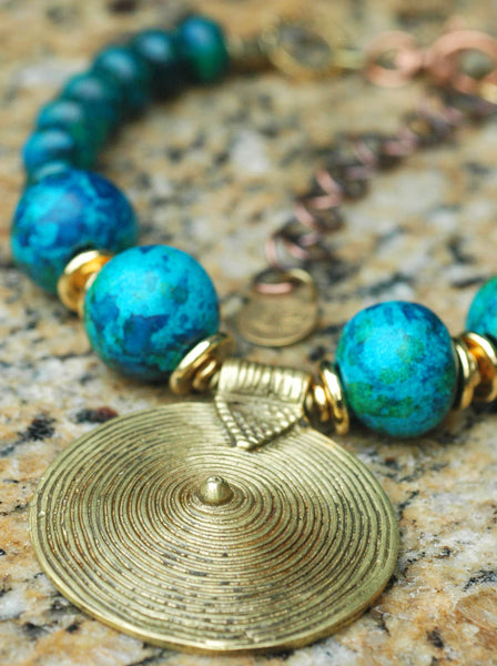 Aegean Blue, Chrysocolla, Gold and Tibetan Brass Shield Necklace