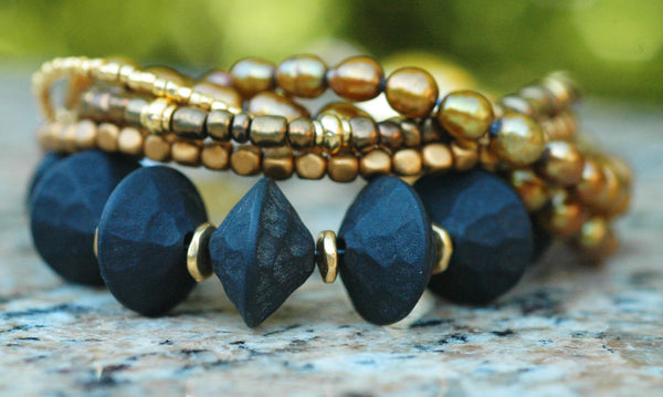 Holiday Inspired Black Coral, Bronze Pearl & Gold Statement Bracelet
