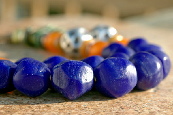 Bold Cobalt Blue Glass, Turquoise, Amber and Hammered Silver Necklace
