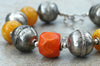 Bold Ethiopian Silver Ball, Amber Resin & Orange Coral Choker Necklace