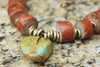 Primitive Terra Cotta, African Brass and Turquoise Arrowhead Necklace