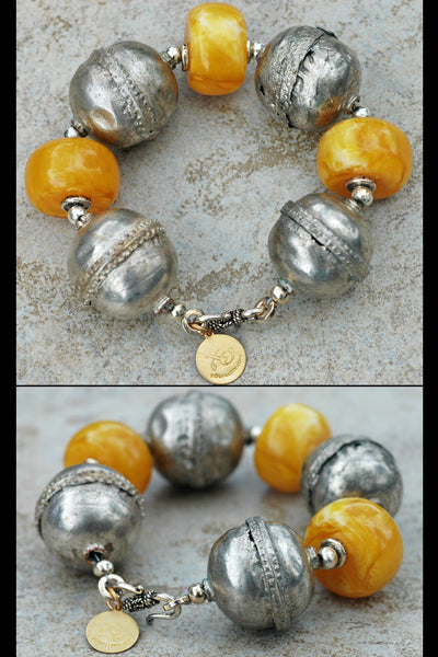 Bold Ethiopian Silver Ball and Chunky Yellow Resin Statement Bracelet
