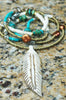 Long Bohemian Turquoise, Brass and Bone Feather Tribal Necklace