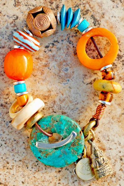 Amber Resin and Turquoise Donut Charm Bracelet