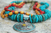 Gorgeous Turquoise, Yellow, Red and Exotic Nepalese Pendant Necklace