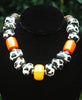 Giraffe Print Bone, Orange and Yellow Tribal Statement Necklace