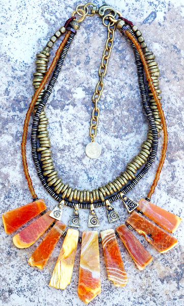 Exotic African Brass Rings, Bronze Fringe & Orange Agate Fan Necklace