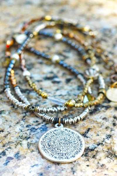 Long Bohemian Mixed Metals, Glass & Crystal Medallion Pendant Necklace