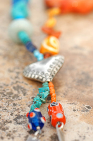 Eclectic Mixed Media Blue, Orange and Silver Beaded Tassel Necklace