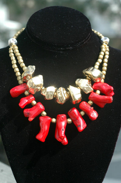 Exotic Red Coral Branch, Gold Nugget & Hammered Silver Fringe Necklace