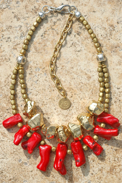 Exotic Red Coral Branch, Hammered Silver and Nuggets of Gold Necklace