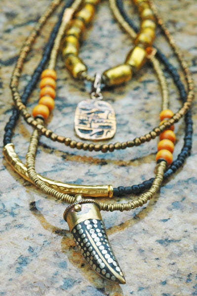 Long Tribal Style Gold, Black, Amber and Bronze Tibetan Tusk Necklace
