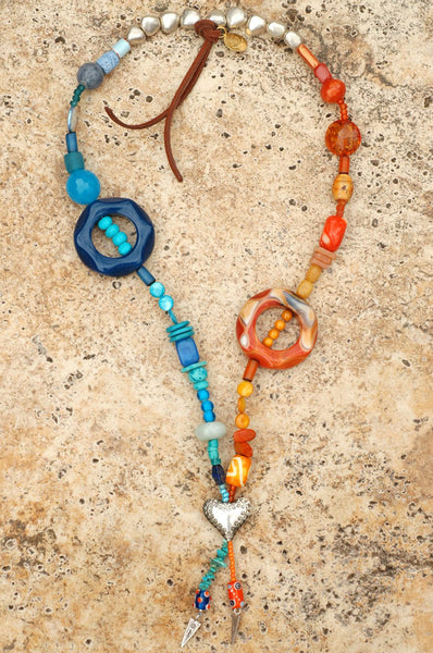 Eclectic Mixed Media Blue, Orange and Silver Heart Tassel Necklace