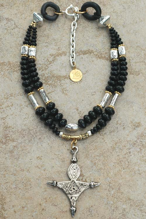 Elegant black onyx gold and silver tuareg cross pendant necklace mozeypictures Image collections