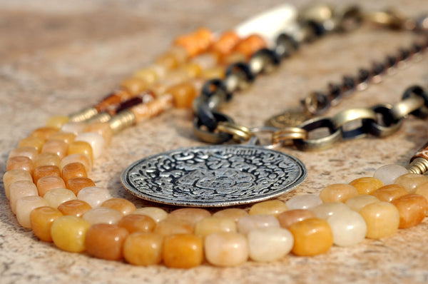 Exotic Orange Stone, Bone, Brass Buddhist Medallion Statement Necklace