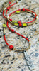 Long Boho Chic Red Glass, Chartreuse & African Brass Pendant Necklace