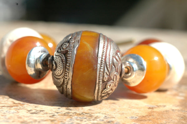 Exotic Nepalese Amber, Bone and Silver Chunky Bracelet
