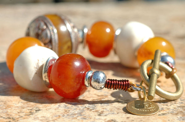 Exotic Nepalese Amber, Bone and Silver Chunky Statement Bracelet