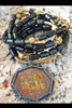 Long Black Buri Seed and African Brass Thai Buddhist Amulet Necklace