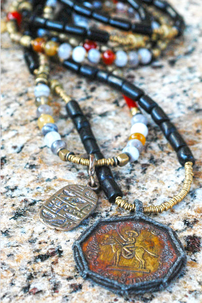 Long Black Buri Seed and African Brass Thai Buddhist Amulet Necklace and Botswana Long Layering Necklace