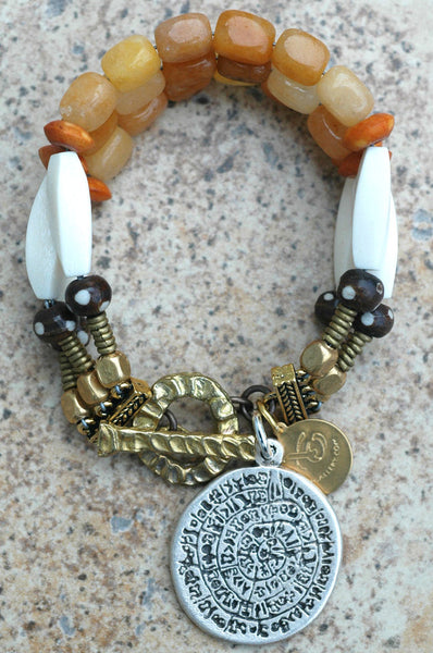 Multi-Strand Orange Stone, Bone and Brass Boho Tribal Charm Bracelet