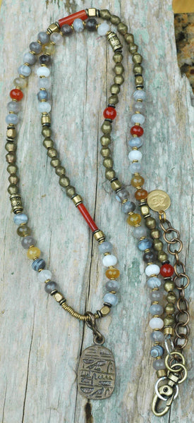 Long & Layered Boho Botswana Agate and African Brass Pendant Necklace