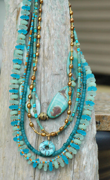 Gorgeous Sea Glass, Turquoise, Blue Agate & Bronze Statement Necklace