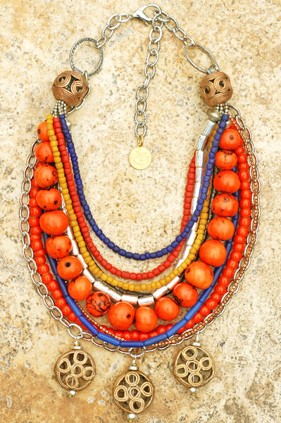 Exotic Moroccan Inspired Orange, Blue Chain Tribal Statement Necklace