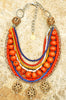Exotic Moroccan Inspired Orange and Blue Tribal Statement Necklace