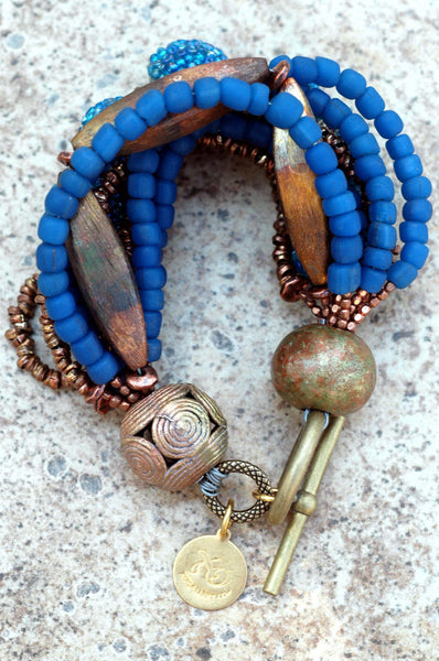 Exotic Multi-Strand Cobalt Blue Glass and Copper Statement Bracelet