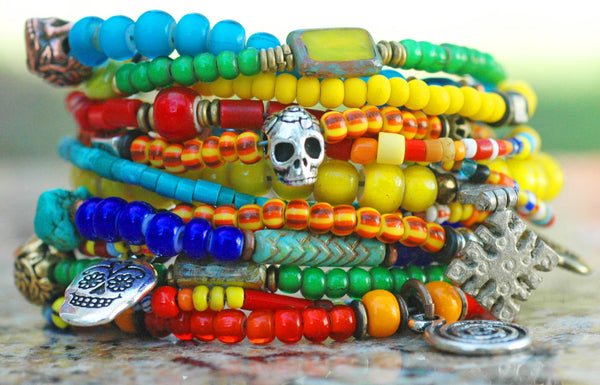 Colorful Boho Mexican-Inspired Skull Mixed-Media Cuff Bracelet