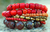 Antique Red Shimmer Glass, Bronze Pearl and Brass Statement Bracelet