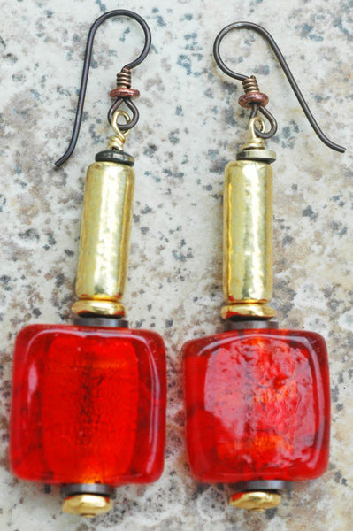 Red Venetian Gold Foil Glass and Gold Tube Statement Earrings