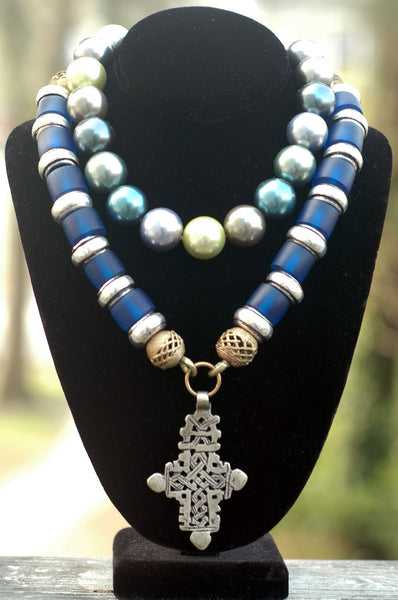 Exotic Ethnic Blue Resin Coptic Cross and Pearl Statement Necklaces