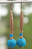 Exotic Cobalt Blue Glass Beaded Bead and Copper Tube Earrings