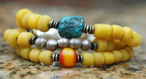 Tibetan Inspired Yellow Glass, Turquoise, Amber and Mixed Metals Bracelet