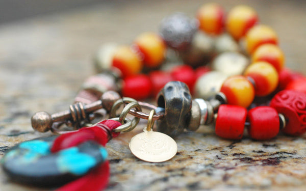 Exotic Yellow Red Burgundy, African Brass & Turquoise Tribal Bracelet